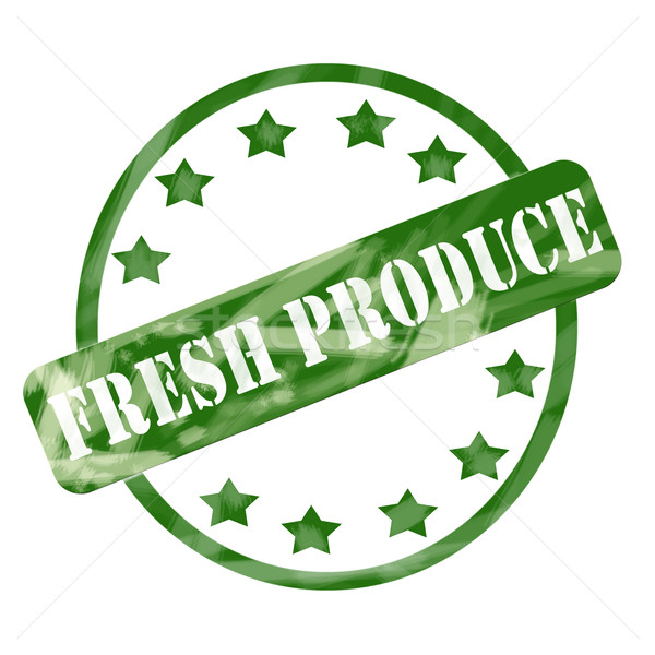 Green Weathered Fresh Produce Stamp Circle and Stars Stock photo © mybaitshop