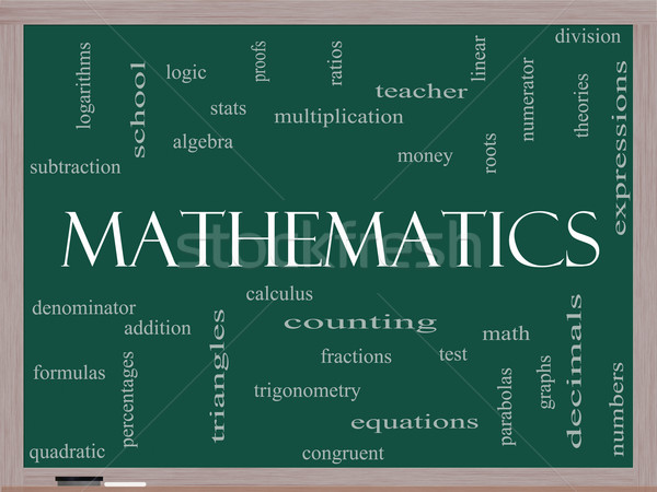 Matematik kelime bulutu tahta muhteşem cebir Stok fotoğraf © mybaitshop