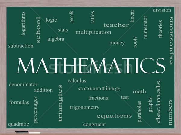 Mathematics Word Cloud Concept on a Blackboard Stock photo © mybaitshop