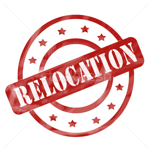 Red Weathered Relocation Stamp Circles and Stars Stock photo © mybaitshop