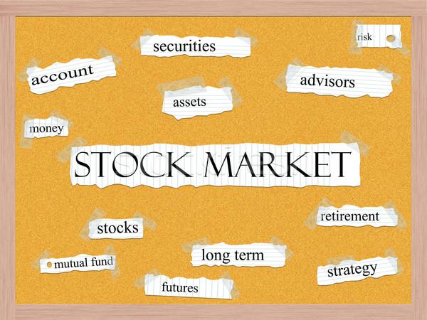 Stock Market Corkboard Word Concept Stock photo © mybaitshop