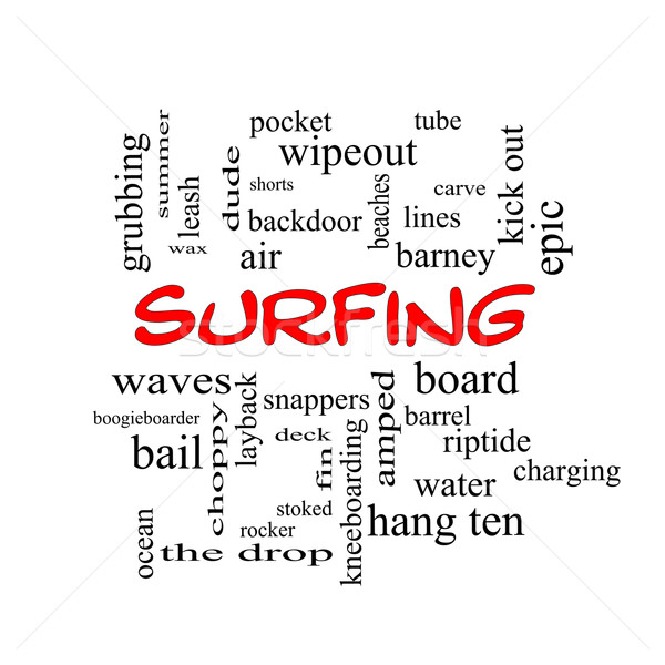 Surfing Word Cloud Concept in red caps Stock photo © mybaitshop