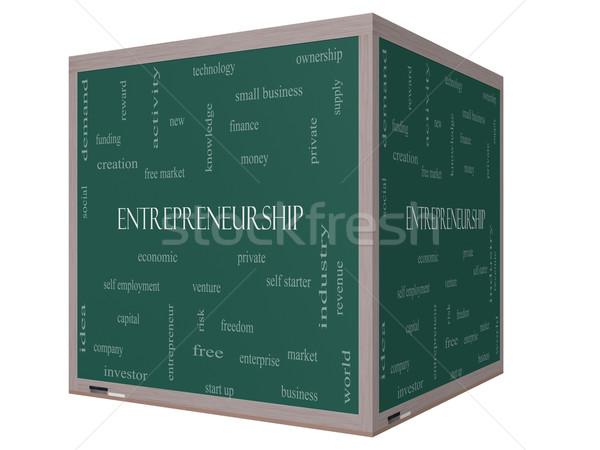 Entrepreneurship Word Cloud Concept on a 3D Blackboard Stock photo © mybaitshop