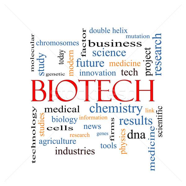 Biyoteknoloji kelime bulutu muhteşem tıbbi DNA daha fazla Stok fotoğraf © mybaitshop
