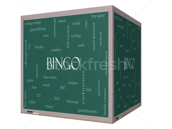 Stock fotó: Bingó · szófelhő · 3D · kocka · iskolatábla · nagyszerű