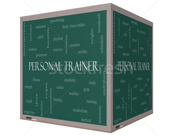 Personal Trainer Word Cloud Concept on a 3D cube Blackboard Stock photo © mybaitshop