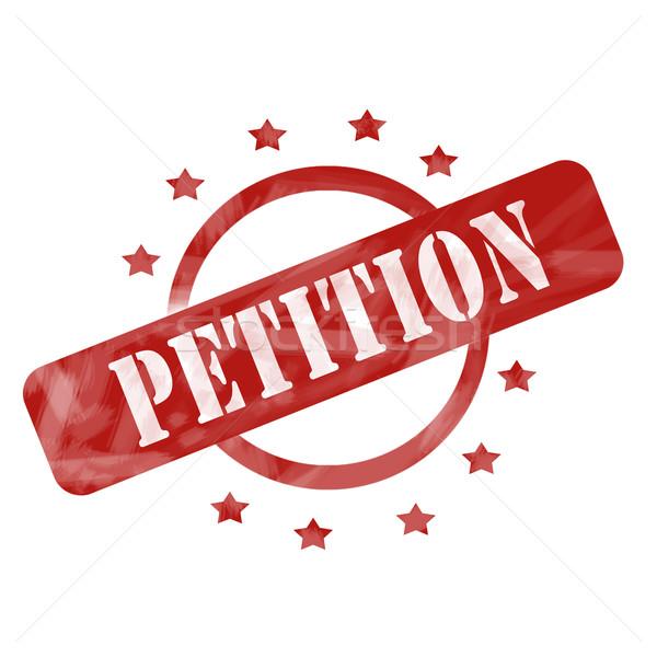 Vermelho resistiu petição carimbo círculo estrelas Foto stock © mybaitshop