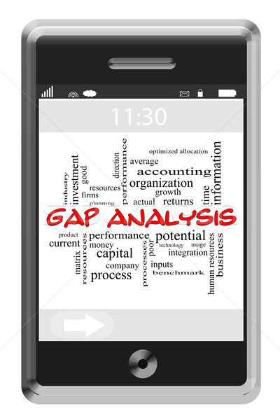 Gap Analysis Word Cloud Concept on Touchscreen Phone Stock photo © mybaitshop