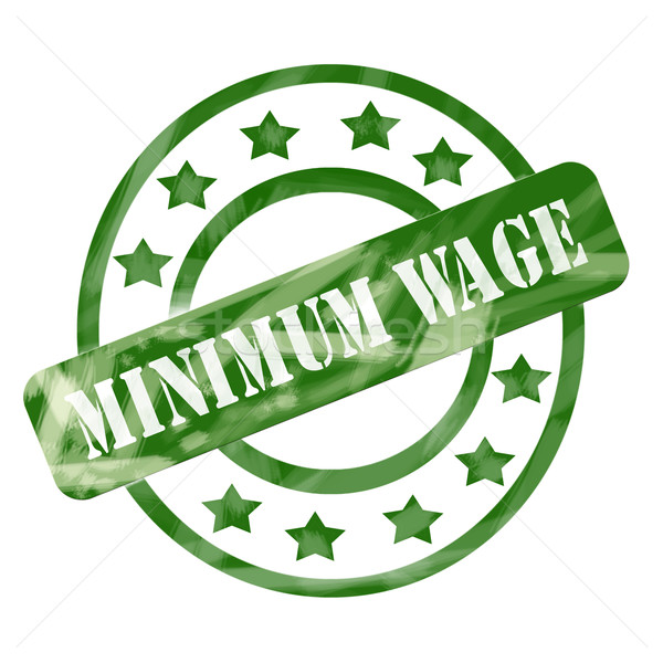 Green Weathered Minimum Wage Stamp Circle and Stars Stock photo © mybaitshop