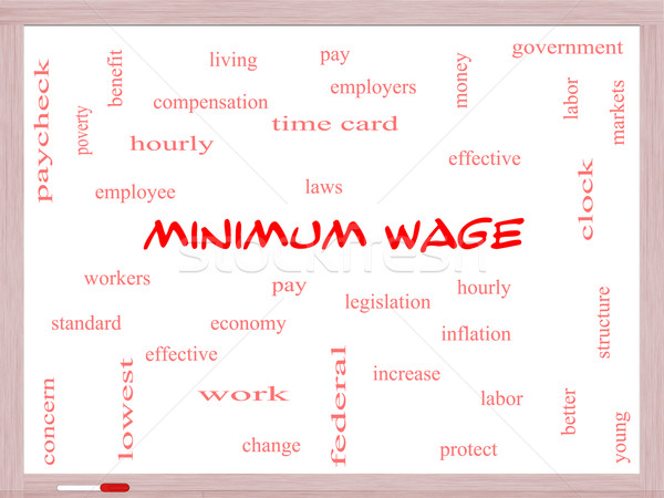 Minimum Wage Word Cloud Concept on a Whiteboard Stock photo © mybaitshop