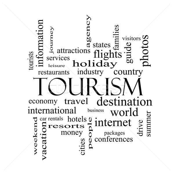 Toerisme woordwolk zwart wit groot reizen industrie Stockfoto © mybaitshop