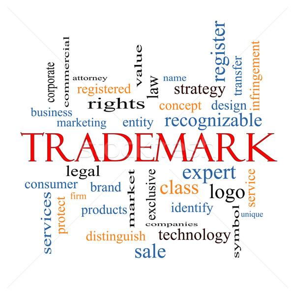 Védjegy szófelhő nagyszerű márka logo jogi Stock fotó © mybaitshop