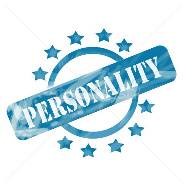 Niebieski wyblakły osobowość pieczęć kółko gwiazdki Zdjęcia stock © mybaitshop