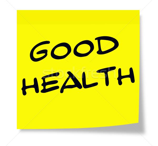 Bom saúde nota pegajosa escrito papel amarelo Foto stock © mybaitshop