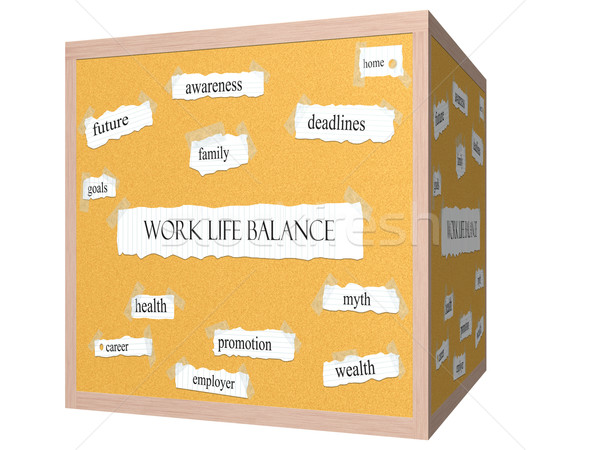 Work Life Balance 3D cube Corkboard Word Concept Stock photo © mybaitshop
