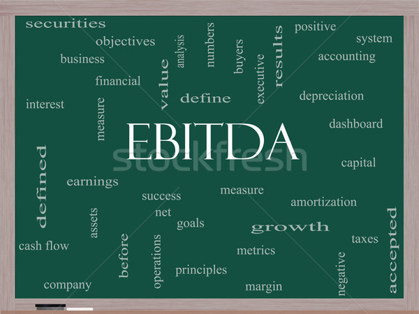 EBITDA Word Cloud Concept on a Blackboard Stock photo © mybaitshop