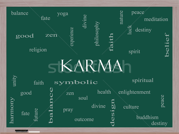 Karma Word Cloud Concept on a Blackboard Stock photo © mybaitshop
