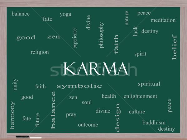 Karma szófelhő iskolatábla nagyszerű egyensúly jóga Stock fotó © mybaitshop