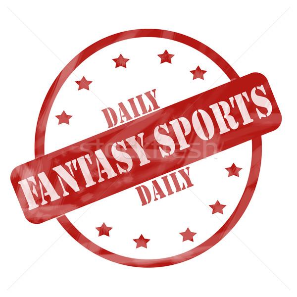 Rood verweerde dagelijks fantasie sport stempel Stockfoto © mybaitshop