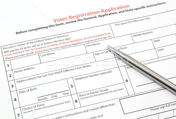 Voter Registration Application with Silver Pen Stock photo © mybaitshop