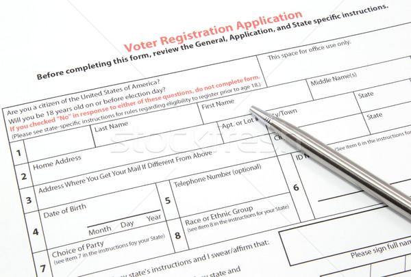 Elettore registrazione applicazione argento pen Stati Uniti Foto d'archivio © mybaitshop