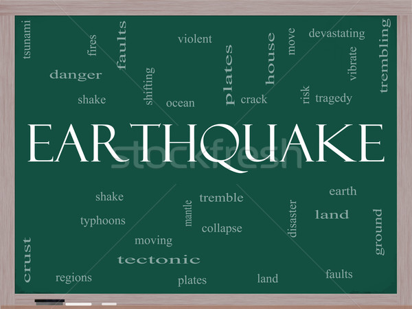 Earthquake Word Cloud Concept on a Blackboard Stock photo © mybaitshop