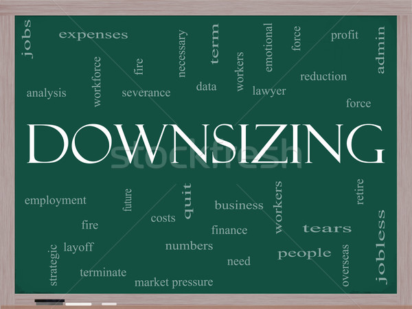 Downsizing Word Cloud Concept on a Blackboard Stock photo © mybaitshop