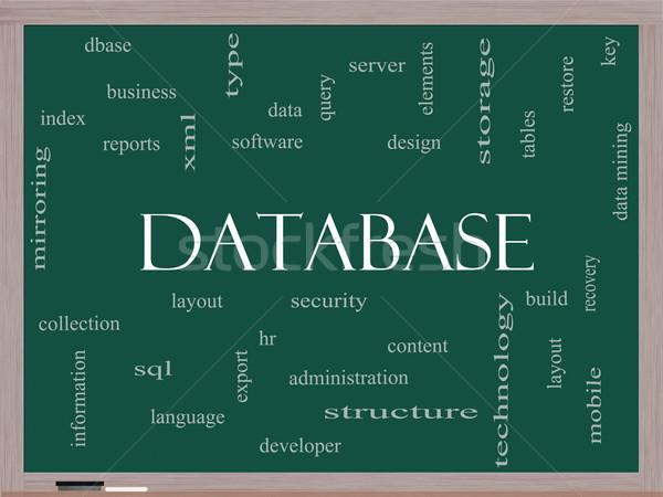 Bazy danych chmura słowo tablicy bezpieczeństwa serwera Zdjęcia stock © mybaitshop
