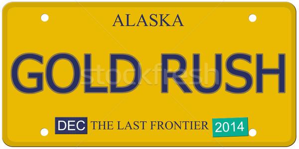 золото торопить Аляска номерной знак имитация декабрь Сток-фото © mybaitshop