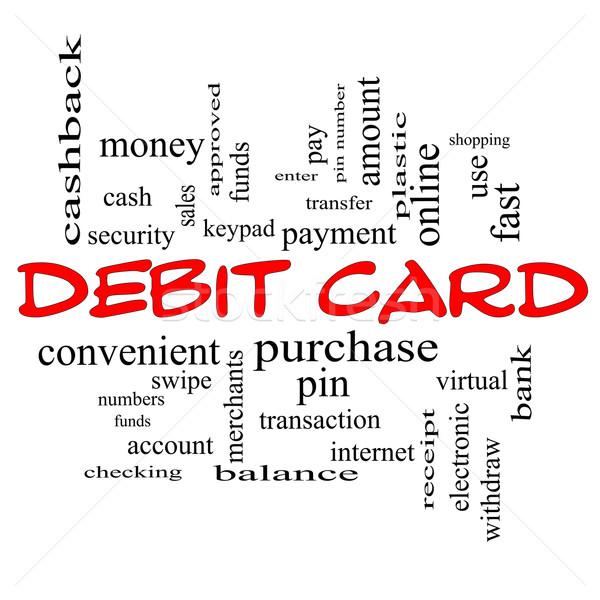 Carta di debito word cloud rosso pagamento pin Foto d'archivio © mybaitshop