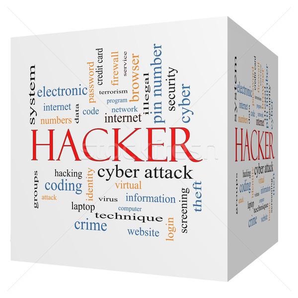 Stock fotó: Hacker · 3D · kocka · szófelhő · nagyszerű · tűzfal