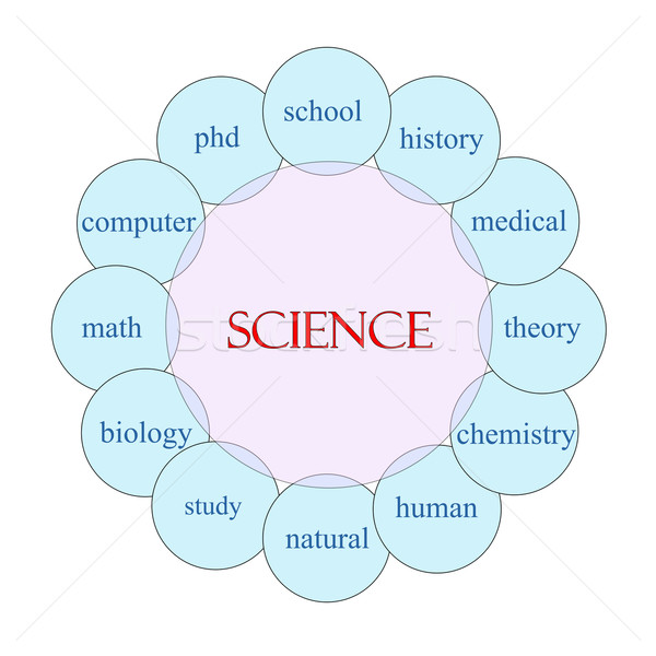 Ciência palavra diagrama rosa azul Foto stock © mybaitshop