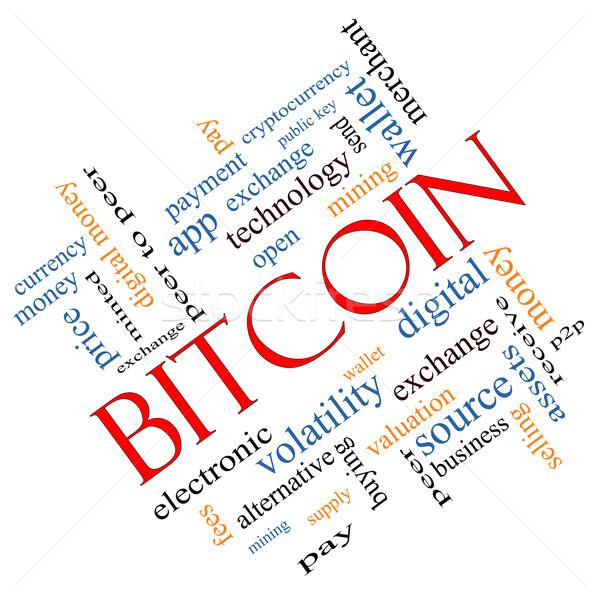 Bitcoin Word Cloud Concept Angled Stock photo © mybaitshop
