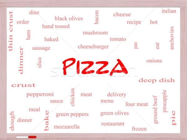 Foto stock: Pizza · nuvem · da · palavra · calabresa · menu