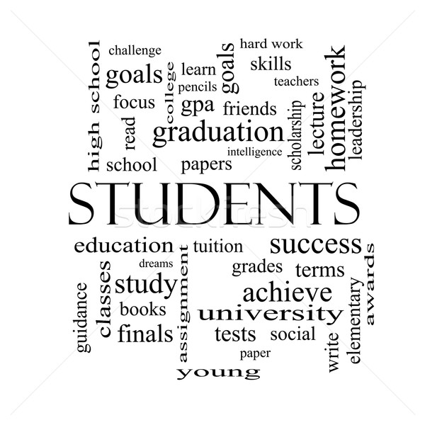 Students Word Cloud Concept in black and white Stock photo © mybaitshop