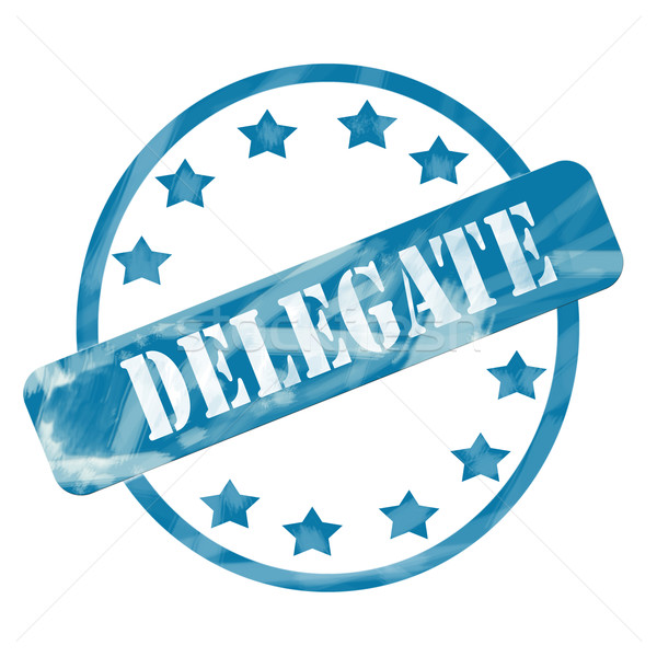 Blue Weathered Delegate Stamp Circle and Stars Stock photo © mybaitshop