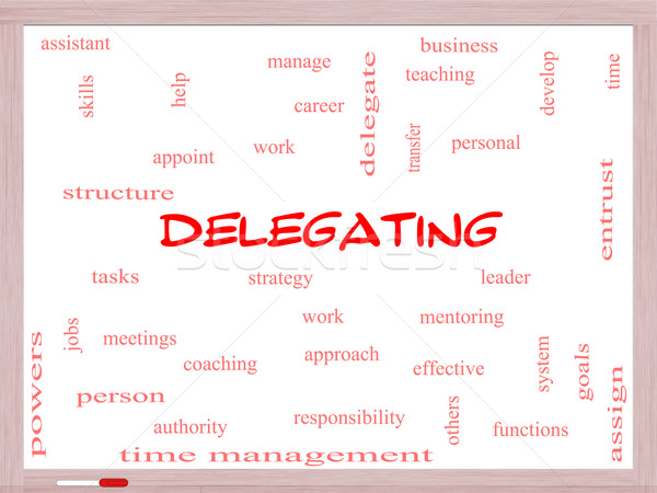 Delegating Word Cloud Concept on a Whiteboard Stock photo © mybaitshop
