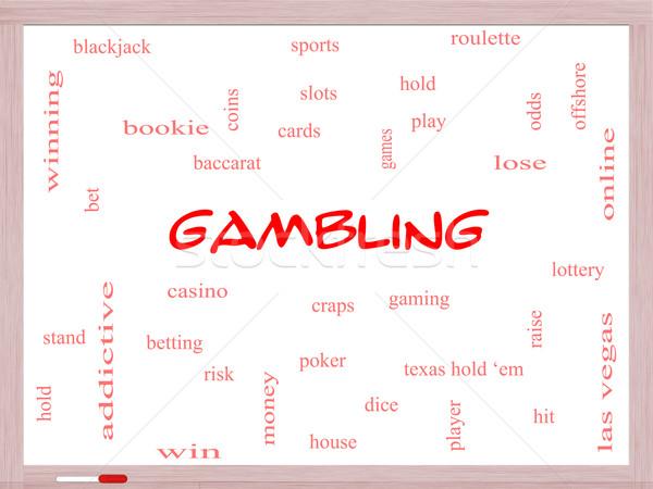 Gambling Word Cloud Concept on a Whiteboard Stock photo © mybaitshop