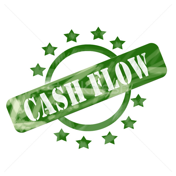 Green Weathered Cash Flow Stamp Circle and Stars design Stock photo © mybaitshop