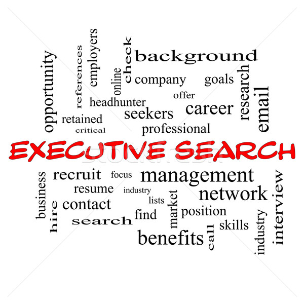Executive Search Word Cloud Concept in red caps Stock photo © mybaitshop