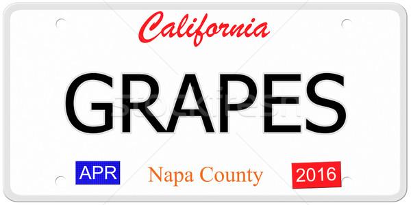 Californië druiven imitatie kentekenplaat woord Stockfoto © mybaitshop