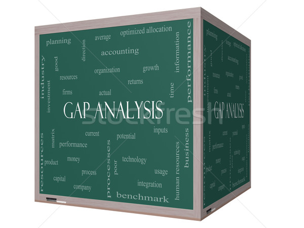 Stock photo: Gap Analysis Word Cloud Concept on a 3D cube Blackboard
