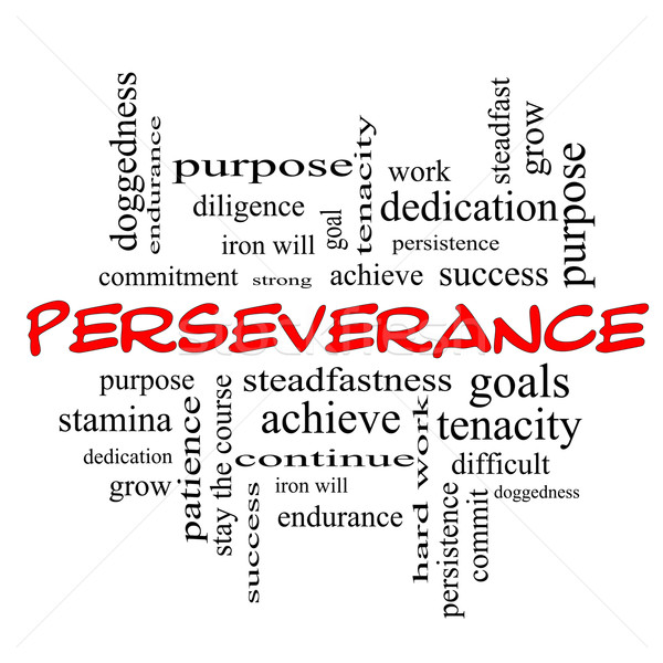 Perseverance Word Cloud Concept in red caps Stock photo © mybaitshop