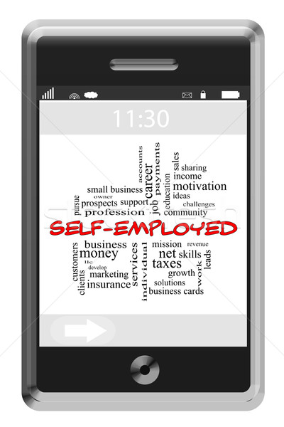 Self-Employed Word Cloud Concept on a Touchscreen Phone Stock photo © mybaitshop