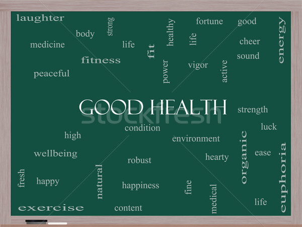 Good Health Word Cloud Concept on a Blackboard Stock photo © mybaitshop