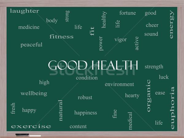 Good Health Word Cloud Concept on a Blackboard Stock photo © mybaitshop