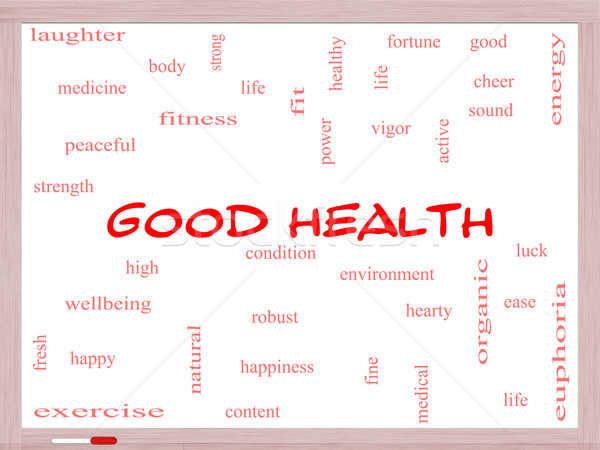 Good Health Word Cloud Concept on a Whiteboard Stock photo © mybaitshop