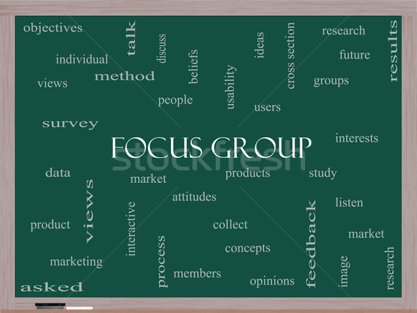 Focus Group Word Cloud Concept on a Blackboard Stock photo © mybaitshop