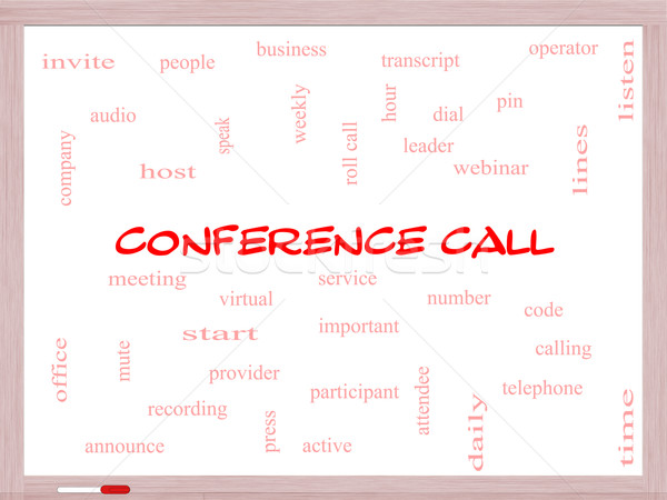 Conference Call Word Cloud Concept on a Whiteboard Stock photo © mybaitshop