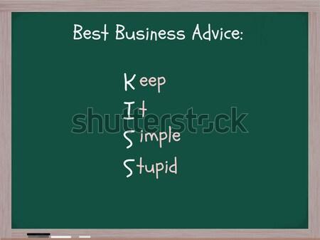 Simples estúpido quadro-negro palavras o melhor negócio Foto stock © mybaitshop